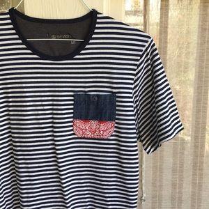 Men's striped shirt with bandana paisley print